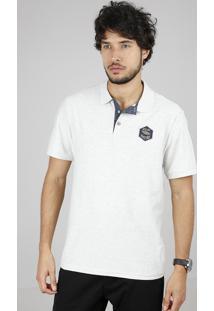 Polo Masculina Com Textura E Bordado Manga Curta Cinza Mescla Claro