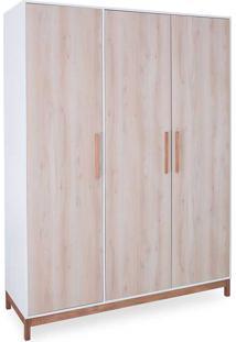 Roupeiro Infantil Guarda-Roupa Pequeno 3 Portas Branco E Faia Moore - 154,6X53X198,5 Cm