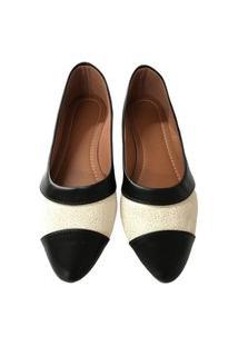 Sapatilha Feminina Confortável Moderna Elegante Dia A Dia Preto+Branco 34
