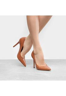 Scarpin Couro Shoestock Salto Alto Color - Feminino-Caramelo