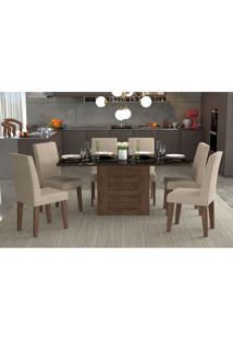 Conjunto De Mesa De Jantar Retangular Rafaela Com 6 Cadeiras Milena Suede Bege E Preto