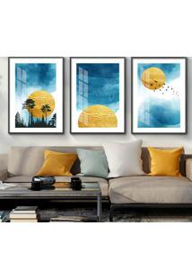 Quadro 60X120Cm Abstrato Nórdico Sol De Sigel Azul Moldura Preta Com Vidro Decorativo Interiores