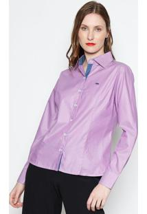 Camisa Com Bordado- Lilã¡S & Azuljavali