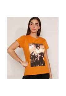 "Camiseta De Algodão Da Banda Queen Freddie Mercury I Want To Break Free"" Manga Curta Decote Redondo Mostarda"""