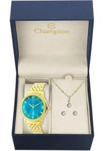 Kit Relógio Champion Analógico Cn27947Y Feminino - Feminino-Dourado