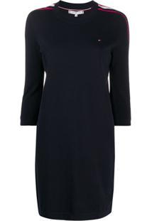 Tommy Hilfiger Vestido Esporitvo Com Acabamento De Listras - Azul