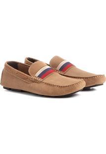 Mocassim Couro Shoestock Gorgurão Tricolor Masculino - Masculino