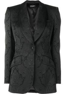 Dolce & Gabbana Blazer Brocado Com Gola Botões - Preto