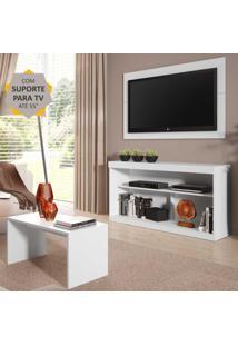 """Rack Com Painel E Suporte P/Tv Até 55"""" Com Mesa De Centro Inovare Multimóveis Branco"""