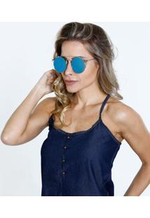 Óculos Feminino De Sol Aviador Espelhado Marisa