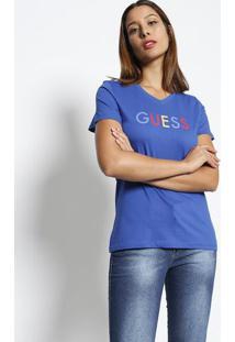 """Blusa """"Guessâ®- Azul Escuro & Vermelhaguess"""