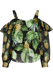 Twin-Set Blusa Com Estampa De Abacaxi E Vazado Nos Ombro - Preto