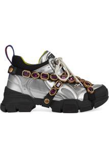449dd013f ... Gucci Tênis Flashtrek Com Cristais Removíveis - Prateado