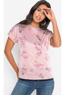 Blusa Com Estampa Frontal Floral Rosa