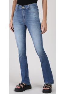 Calça Jeans Feminina Sawary Flare Cintura Média Destroyed Azul Médio