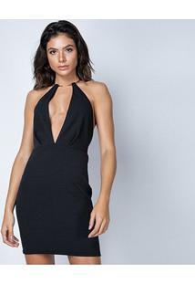 Vestido Lança Perfume Curto Frente Única - Feminino-Preto