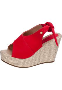 Sandália Anabela Lu Fashion Com Laço Traseiro Vermelho
