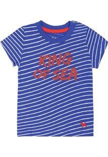 "Camiseta Listrada ""King Of Sea""- Azul & Vermelhacharpey"