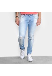 Calça Jeans Skinny Triton Delavê Puídos Masculina - Masculino-Azul Claro
