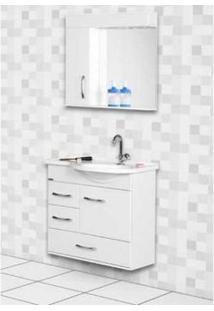Armario Banheiro Rorato Kit 60Cm Viena Branco C/E