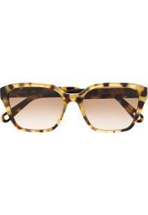 Chloé Eyewear Óculos De Sol Oversized Tartaruga - Marrom