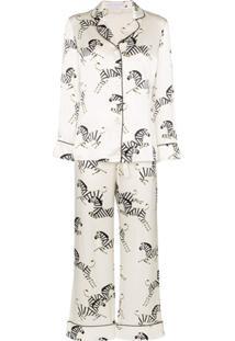 Olivia Von Halle Pijama 2 Peças Lila Com Estampa De Zebra - Branco