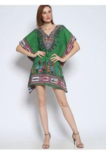 6939fc4a1 ... Vestido Étnico Amplo - Verde & Rosa- Bhlbhl