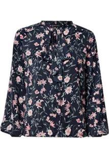Camisa Dudalina Manga Longa Gola Laço Feminina (Estampado Floral, 44)