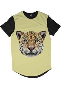 Camiseta Longline Bsc Cara De Onça Sublimada Masculina - Masculino-Amarelo