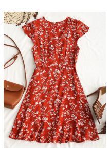 Vestido Rodado Princeton Com Flores - Vermelho