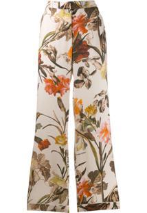 Off-White Calça Estilo Pijama Com Estampa Floral - Neutro