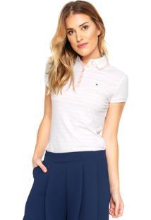 Camisa Polo Tommy Hilfiger Kalda Bege/Rosa