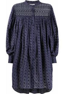 Isabel Marant Étoile Vestido De Algodão Com Bordado Inglês - Azul
