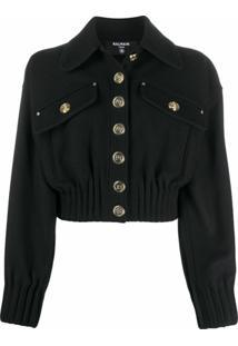 Balmain Cropped Wool Jacket - Preto