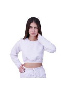 Blusa Moletom Cropped Plus Size Manga Longa Branco