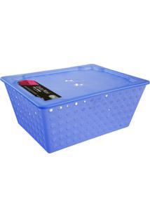 Cesta Organizadora Maxi Com Tampa Azul 10829/0461 Coza