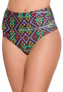 Calcinha Blue Horse Paola Hot Pants Retro Franzido Lycra Estampado Bordado