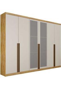 Guarda-Roupa Casal Com Espelho 6 Portas E 6 Gavetas Quebec- Novo Horizonte - Freijo Dourado / Off White