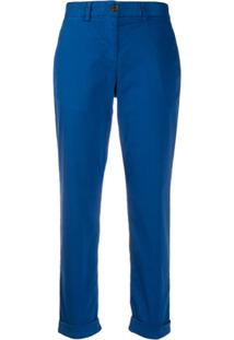 Ps Paul Smith Calça Slim Cropped - Azul