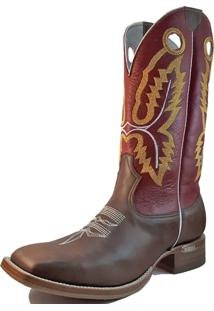 Bota Texana Bico Quadrado Marrom