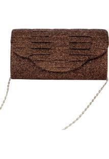 Bolsa Clutch Liage Tecido Brilhante Alça De Metal Prata E Marrom / Bronze