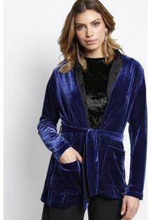 Kimono Em Veludo Com Bolsos- Azul Marinho- Gup'S Jeagup'S Jeans