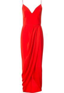 c694247044 Vestido Drapeado Longo feminino