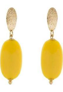 Brinco Barbara Strauss Halandri Em Resina Lalique Revestido Em Ouro 18K - Feminino-Amarelo