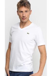 Camiseta Lacoste Live Manga Curta Masculina - Masculino-Branco