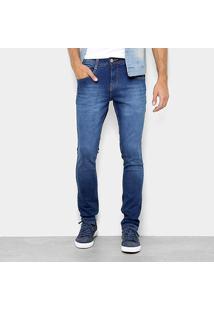 Calça Jeans Skinny Biotipo Estonada Cintura Média Masculina - Masculino-Azul