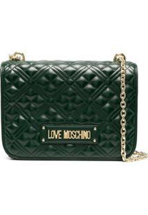 Love Moschino Bolsa Tiracolo Matelassê Com Logo - Verde