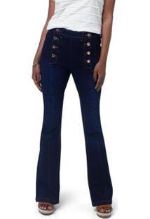 Calça Jeans Flare Com Abotoamento Feminina - Feminino