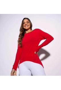 Blusa Vermelha Manga Longa Lisa Bl335 Vermelho