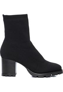 Bota Feminina Sock Boot Knit - Preto